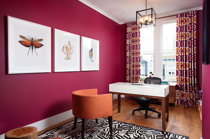 Trendy Home Office with Pink Accent Wall