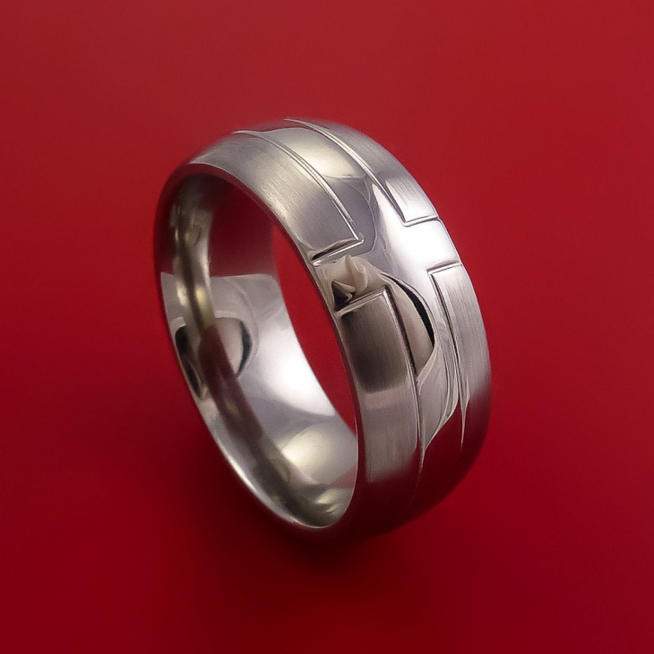 Titanium Ring with Cross Design