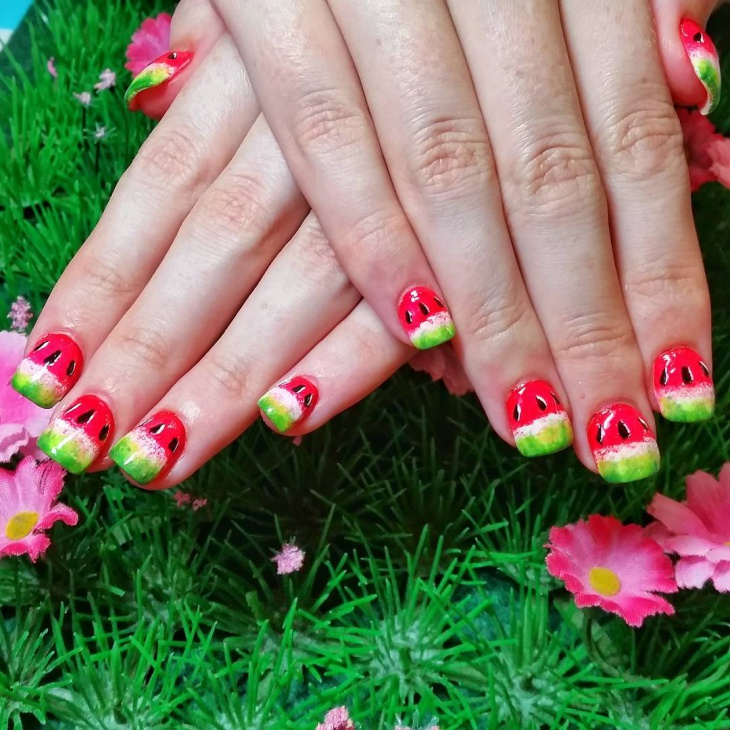 Pretty Watermelon Nail Art