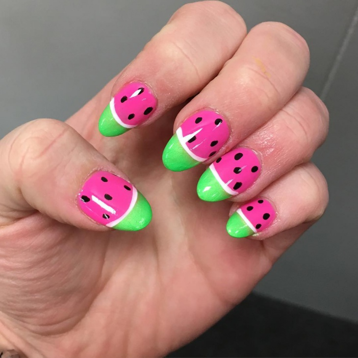 Pink and Green Polka Dot Nails