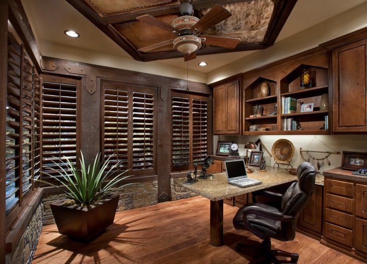Luxury Rustic Home Office