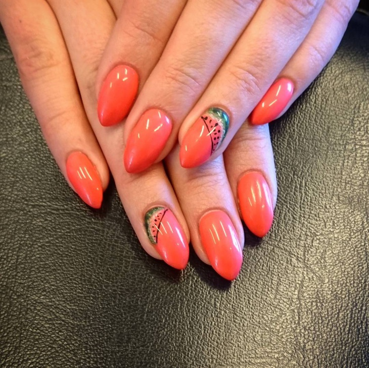 Peach Color Nails with Watermelon Art
