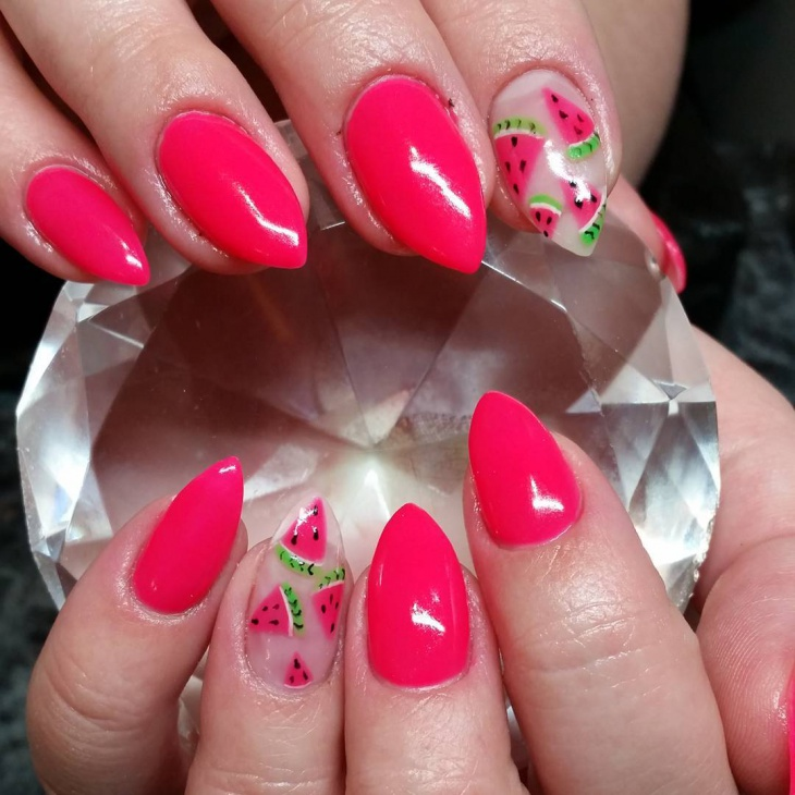 Pink Color Stilleto Nails
