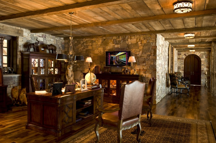 Stone Walled Home Office Design.
