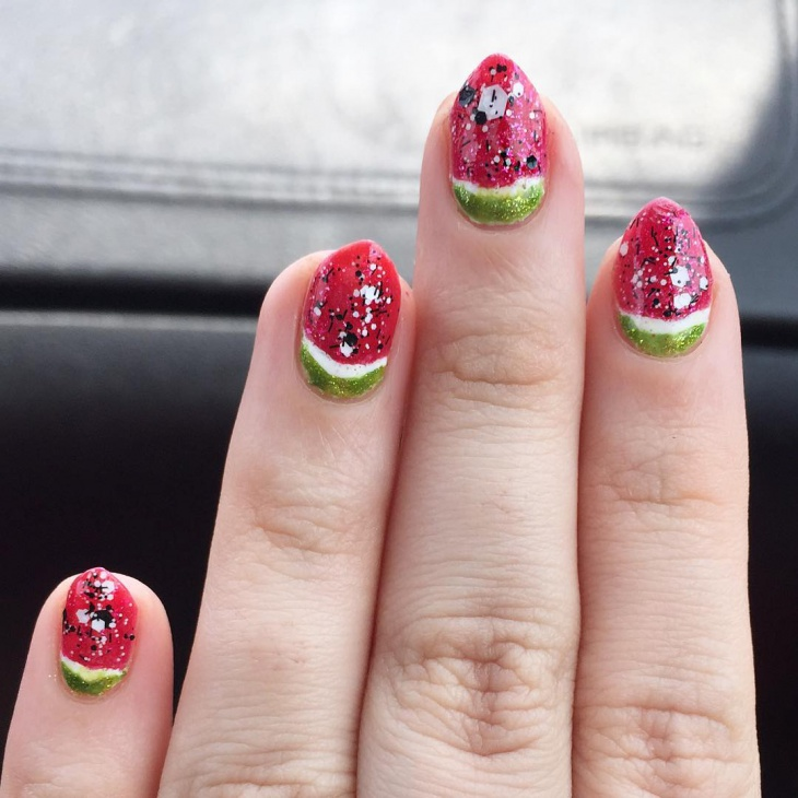 Unique Watermelon Nail Design