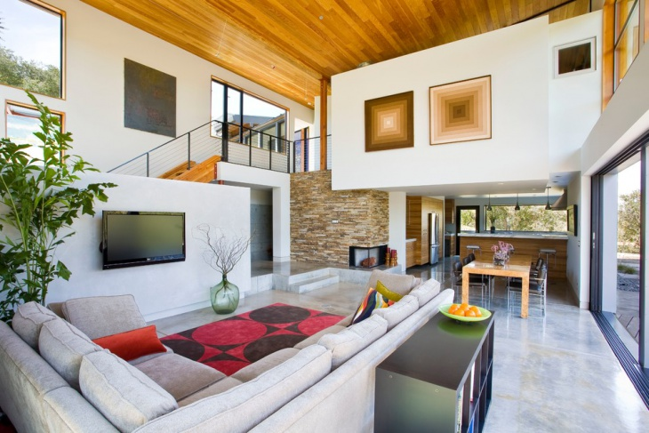 Concrete Flooring Living Room Design