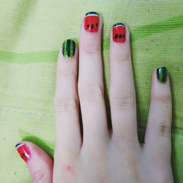 Classic Watermelon Nail Art Design