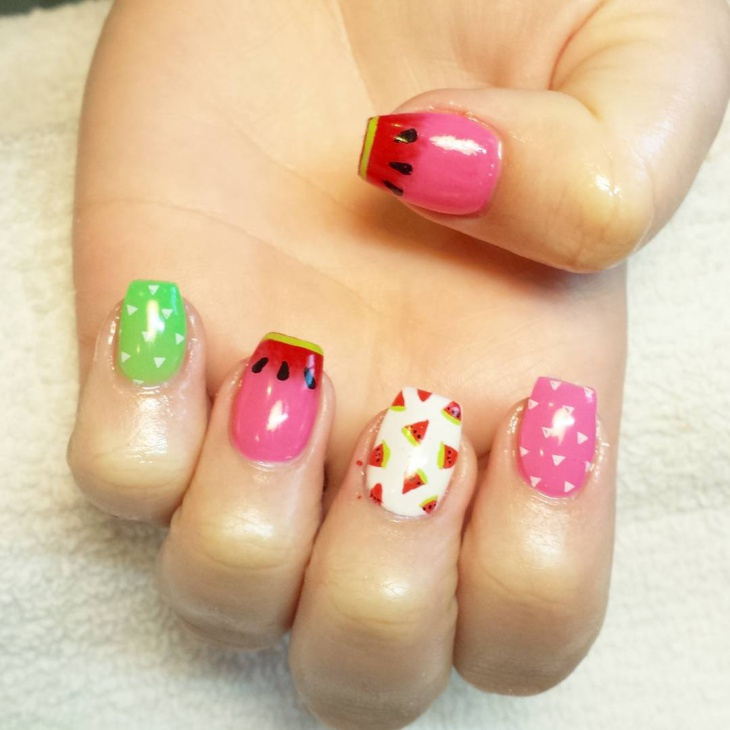 Attractive Short Watermelon Nails