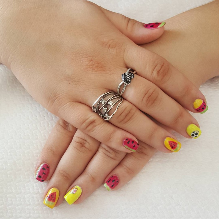 Yellow and Red Watermelon Nails