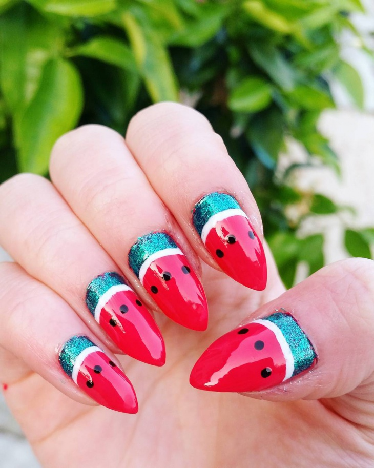 Pointy Watermelon Nail Design