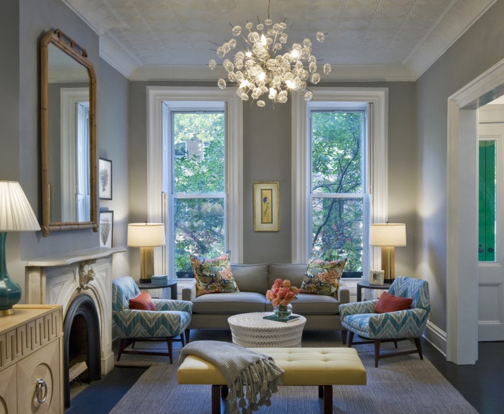 colorful living room with chandeliers