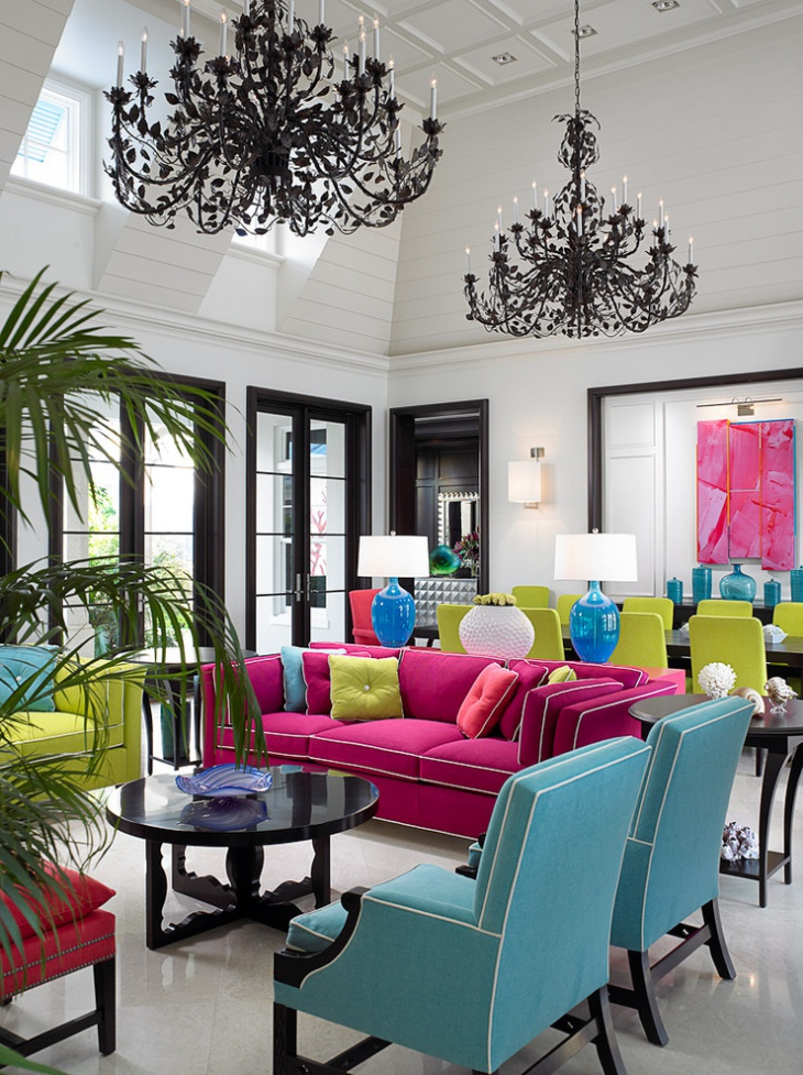 Colorful Sofa Set Tropical Living Room Design