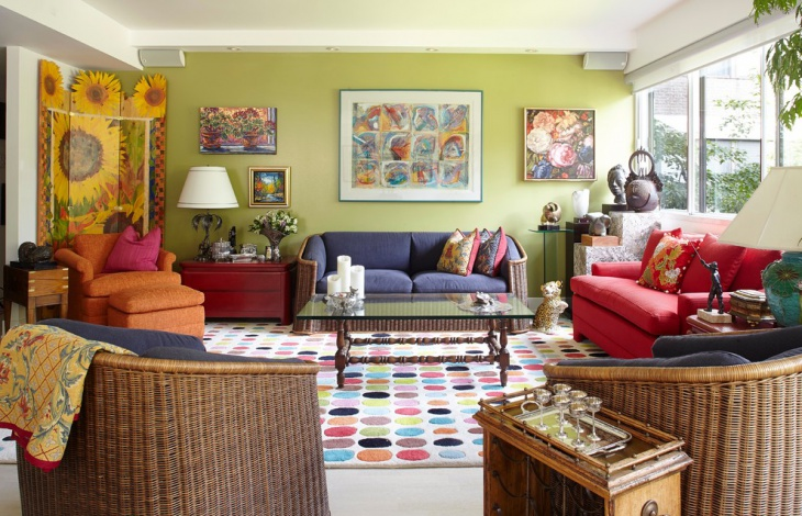 Eclectic Colorful Living Room Design