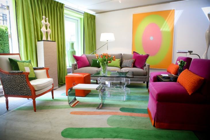 Green and Pink Living Room Design