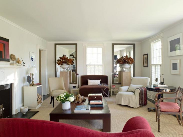 traditional white living room design
