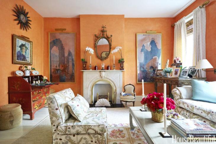 vintage bright orange living room