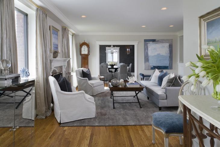 white transitional living room
