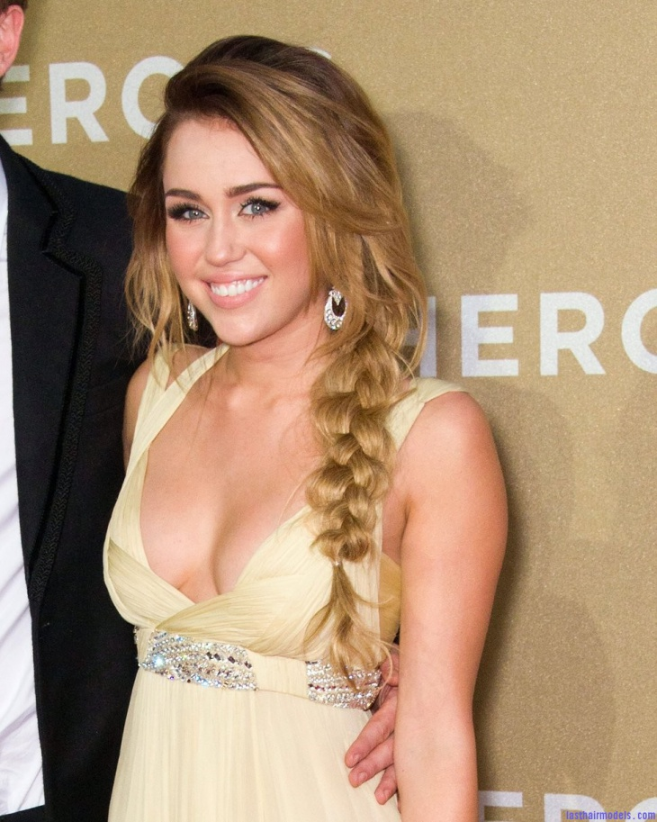miley cryus blonde braid hair