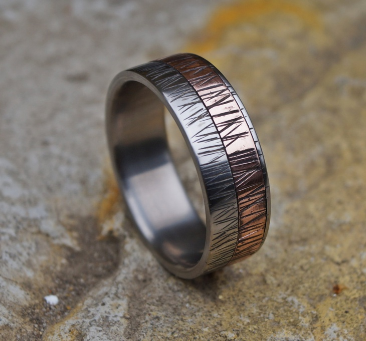 Titanium Copper Ring for Men
