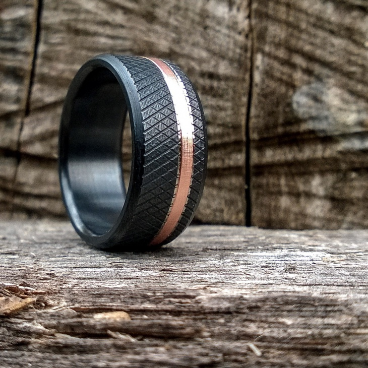 Black Handcrafted Titanium Ring