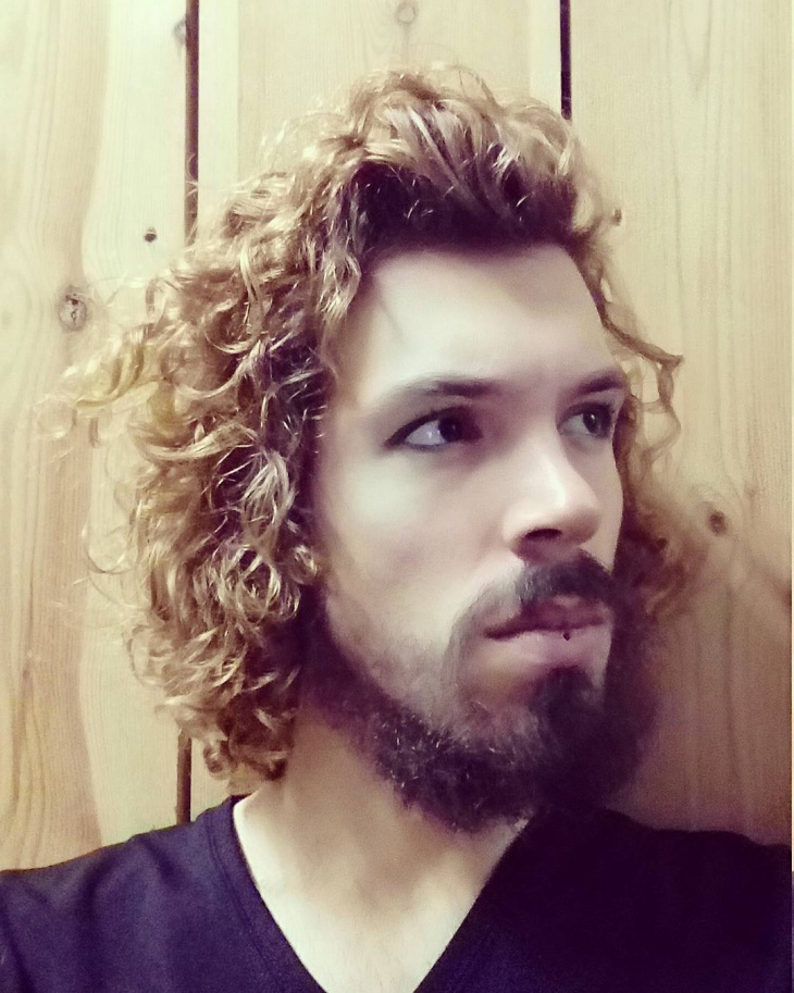 mens blonde curly long hair