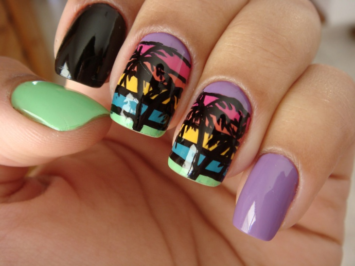 multicolored sunset nail design