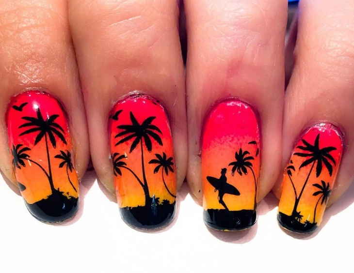 pretty sunset nail art design1