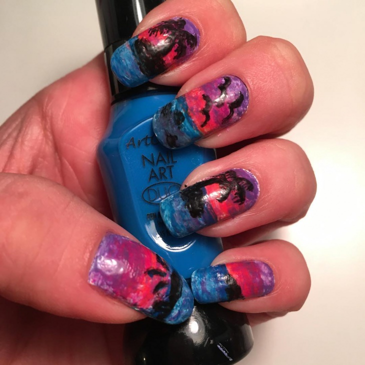 tropical sunset nail design idea