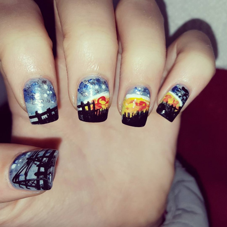 acrylic sunset nail art