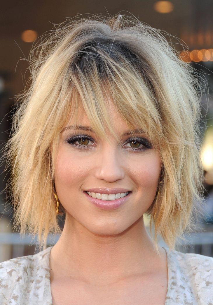 dianna agron choppy bob haircut