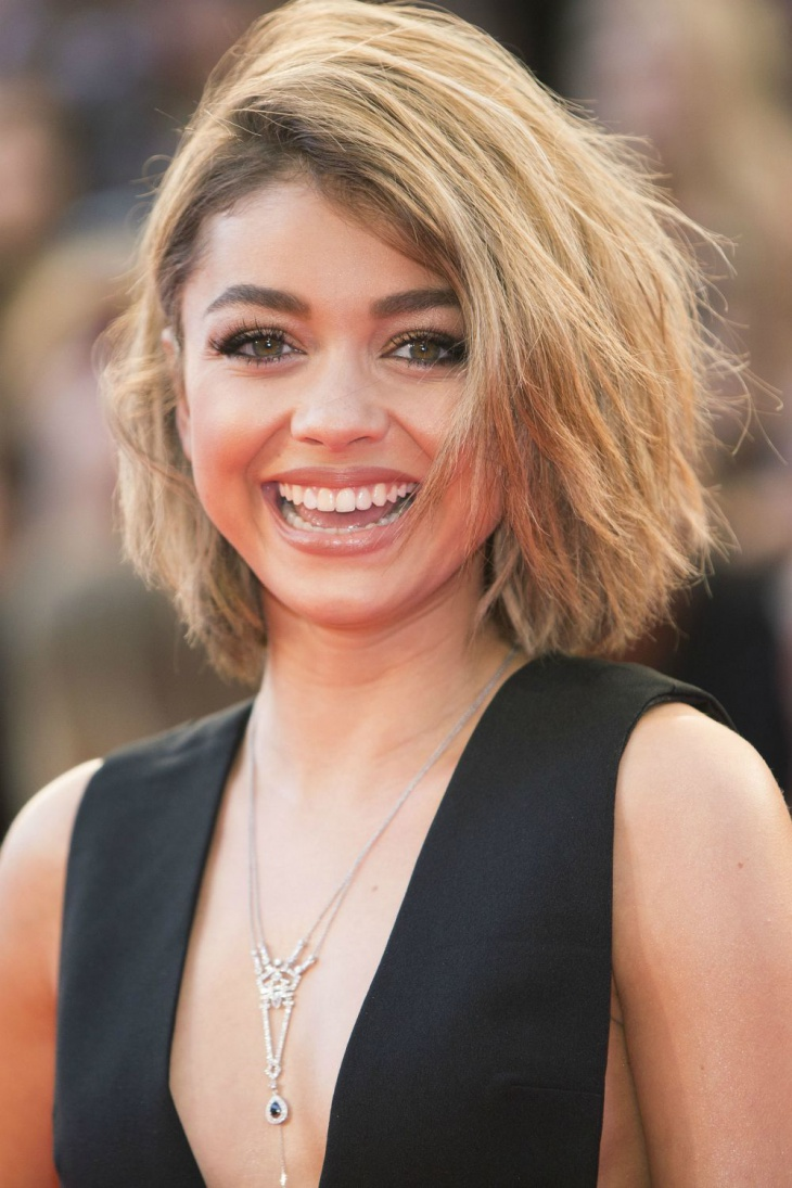 sarah hyland choppy long bob hairstyle