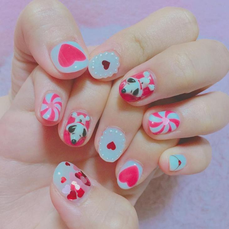 Lovely Heart Nail Design