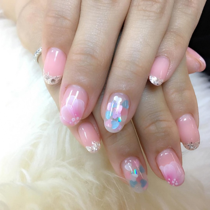 baby pink gel polished nails