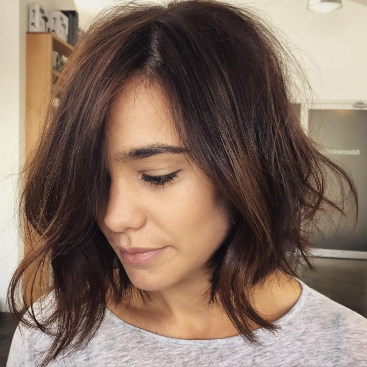 Side Swept Chopped Bob Haircut