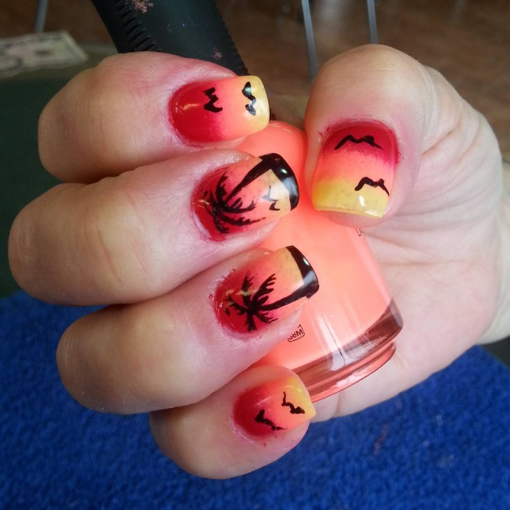 acrylic beach nails design