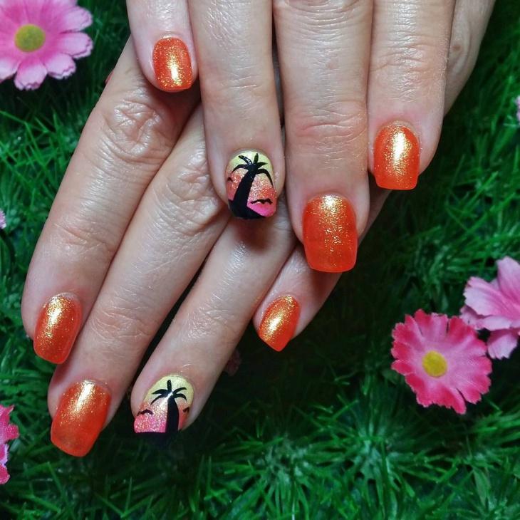 Glitter Orange Nail Design