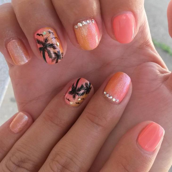 Beautiful Sunset Nail Art Design