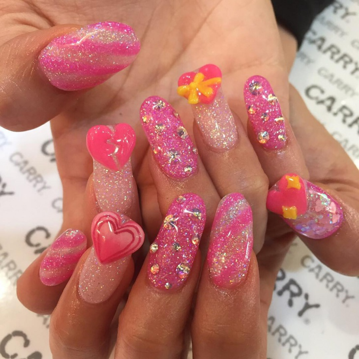 charming nail design with hearts