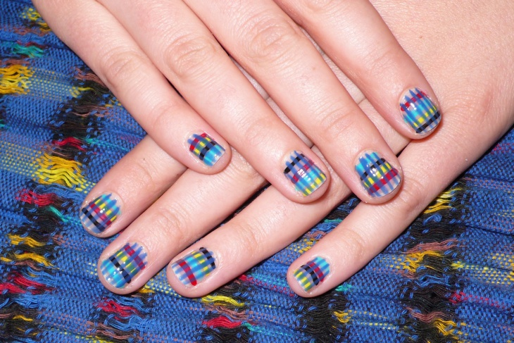 multi color plaid nail design