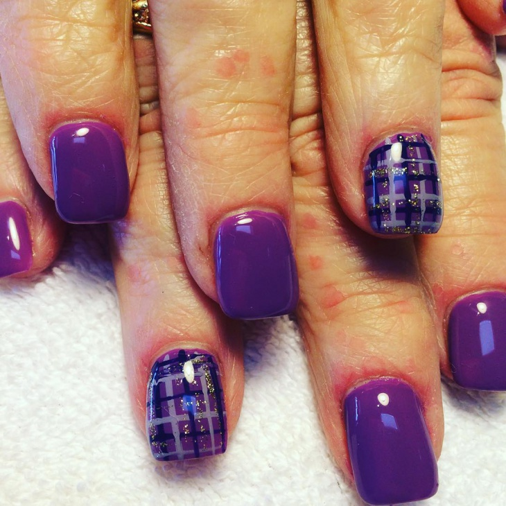 purple plaid nails with gold glitter