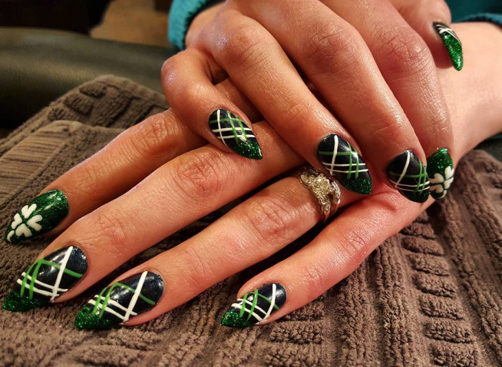 black and green pointy nails