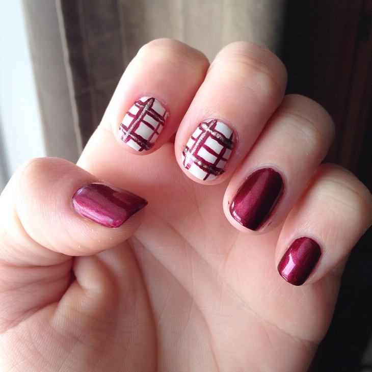 silver glitter red plaid nail art