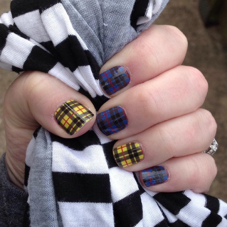 yellow and blue plaid nails