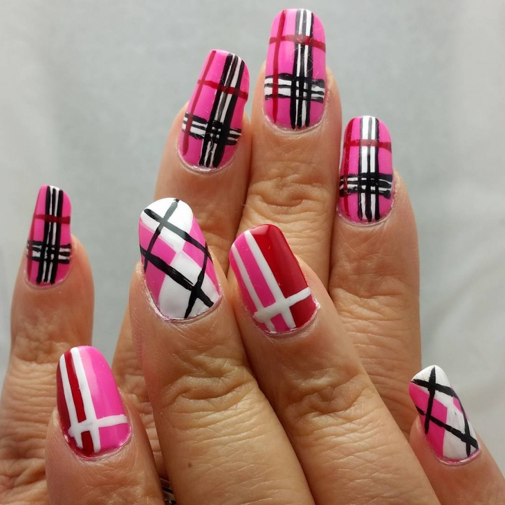 pink plaid design for long nails