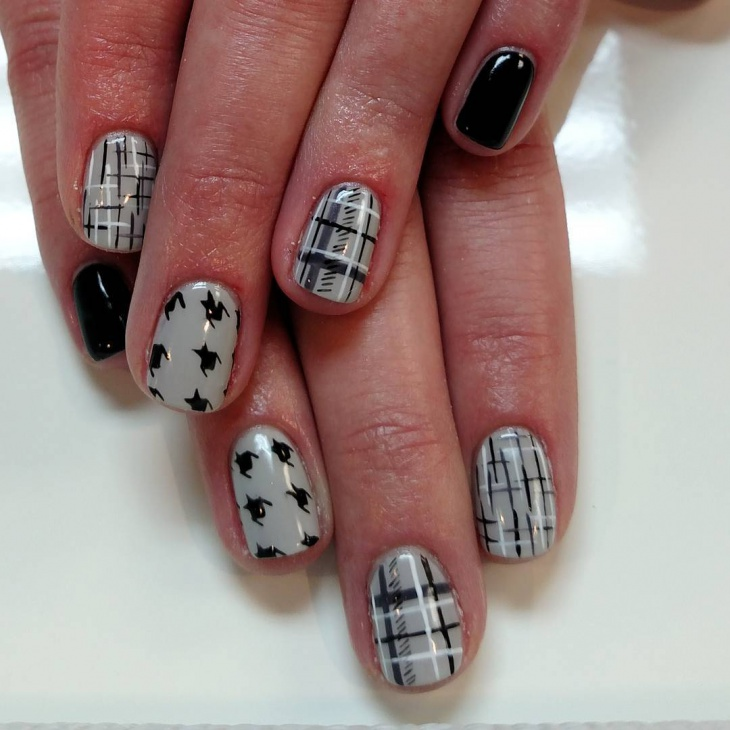 gray tweed nails design idea
