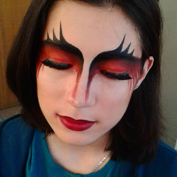 red and black fantasy eye makeup