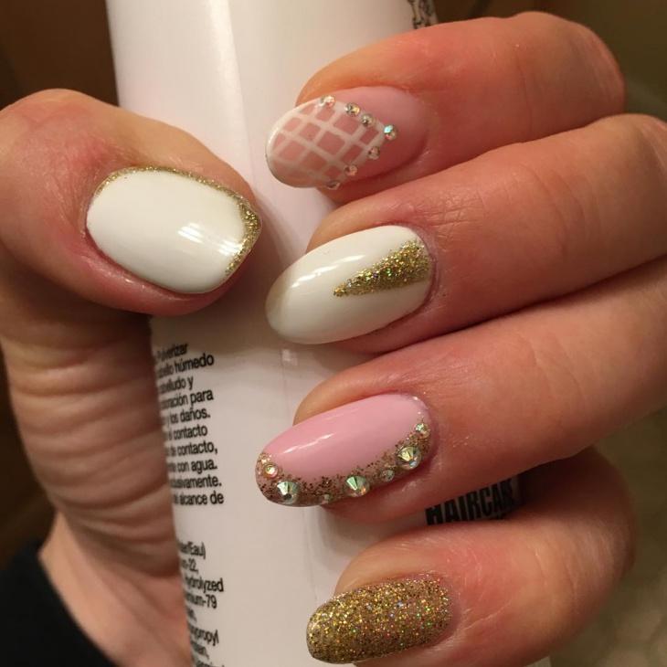 2o rhinestone nail art designs ideas design trends premium rhinestone nails with gold glitter prinsesfo Choice Image