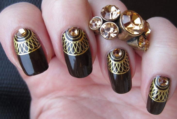 Black and Gold Rhinestone Nail Art