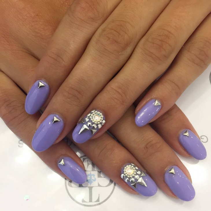 Cute Purple Nail Design - 2o+ Rhinestone Nail Art Designs, Ideas Design Trends - Premium PSD