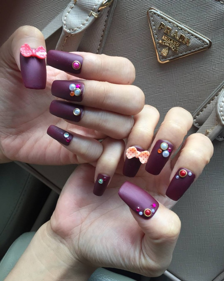 Coffin Nails with Rhinestones